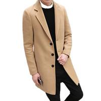 chaquetas largas de la caída del estilo al por mayor-Escudo de lana de manga larga casual de 2018 hombres de primavera / gabardinas largas de color sólido de los hombres Blends / plus size 5XL C18110601