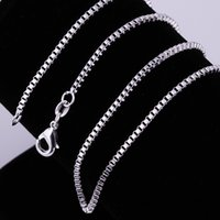 Wholesale silver jewelry sellers for sale - Group buy Best Seller Classic Style Sterling Silver Jewelry mm Wide Box Chain Geometry Square Neutral Necklace DIY Accessories