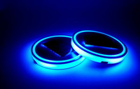 titreşim öncülü toptan satış-Mavi LED Güneş Araba Kupası Mat Anti Kayma Şişe Tutucu Ped Içecekler Coaster Dahili Titreşim Işık Sensörü