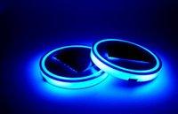 titreşim öncülü toptan satış-Mavi LED Güneş Arabası Bardak Mat Anti Kayma Şişe Tutucu Pad İçecekler Coaster Dahili Titreşim Işık Sensörü