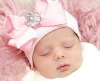 ingrosso piega i cappelli-Baby Hat Bow Newborn Beanie Neonate Berretto in maglia di cotone Beanie neonato a strisce Berretto da bambino cappello compleanno cappello partito Bella cappelli