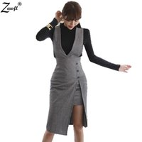 Wholesale Office Women Suit Sexy - ZAWFL Winter 2 Piece Set women suits Sexy slim white long Flared sleeve shirt+OL office Package hip Bodycon Suspender skirt suit