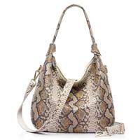Wholesale Hobo Tote Pattern - new women genuine leather handbag serpentine pattern leather tote bag large capacity casual ladies shoulder bags