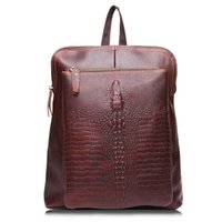 Wholesale Leather Fashionable Backpacks - Joyir Genuine Leather backpack for female top layer cow leather crocodile print school backpacks woman fashionable travel bags