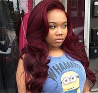 Wholesale black women burgundy human hair wigs for sale - Group buy Human hair wig j Brazilian Burgundy Red Lace Front Wigs Virgin Brazilian Body Wavy Human Full Lace Wigs For Black Women