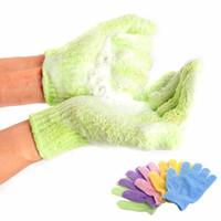 schaumbad schwamm großhandel-Bad Peeling Exfoliating Mitt Handschuh für Dusche Scrub Handschuhe Widerstand Körpermassage Schwamm Wash Haut feuchtigkeitsspendende SPA Schaum