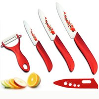 Wholesale pieces knife painting resale online - Hot High Quality Red Flower Painted Zirconia Ceramic Kitchen Knife Set fruit Kit quot quot inch Peeler Covers