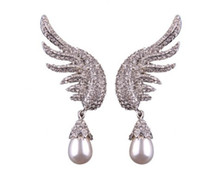ingrosso perla-chaming pearl diamond Angel wings lady's Earrings (15)