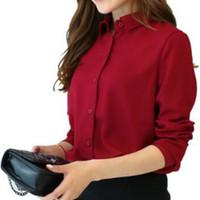 frauen chiffonkragen blusen großhandel-Herbst Frauen Shirts Blusen Langarm Umlegekragen Solide Damen Chiffon Bluse Plus Größe Büro Frauen Tops Femme GV187