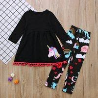 kinder hosenanzug mädchen groihandel-Mädchen Einhorn gedruckt Kleid Hosen Anzüge Quaste zweiteilige Kleidung Sets Floral Rainbow Sets Kinder Kinder Baby Outfit AAA106