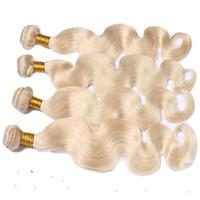 Wholesale premium remy human hair resale online - Premium service Human Hair Weaving g Platinum Blonde Color Remy Hair Extension Inchs Virgin Body Wave Hair Extension