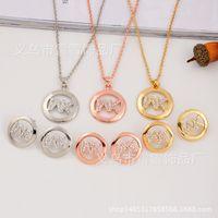 Wholesale fine jewelry diamonds - Hot Fashion Necklace Pendant Earrings MK Letters Two Piece Set Glossy Diamond Jewelry Fine Polishing ll