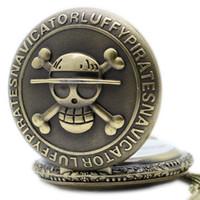 relógio de bolso de uma peça venda por atacado-Antique Vintage Retro Bronze Crânio Pirata One Piece Quartz Pendent Pocket Watch Pocket