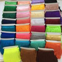 metre meydan toptan satış-(10 yards / lot) 15 CM Polyester BorlasTassel Saçak Kırpma Dantel Latin Elbise Için Samba Sahne zakka patchwork tekstil Perde dantel
