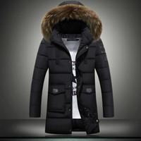 Wholesale Korean Fur Hooded Jacket - New mens winter jackets coats youth Korean version slim thicken canada cotton down jacket fur collar large size 4XL men outdoor jacket coat