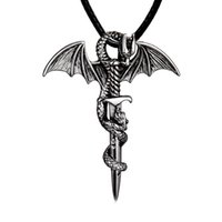 Wholesale men necklace dragon silver - 2018 Antique Silver Sword Dragon Necklace Pendant with Rope Chain Fashoin Jewelry for Men 162587