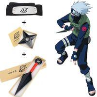 ingrosso guanti liberi in lattice nero-Hot Japan Anime Naruto unisex Cosplay Hokage plastica Props Giocattoli Accessori regalo inscatolato Shuriken fascia kunai