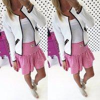 artı kısa kollu hırka toptan satış-Pamuk İlkbahar Sonbahar Kadınlar Temel Ceket Uzun Kollu Fermuar Kadın İnce Kısa Hırka Coat Casual Dış Giyim Plus Size Cepler
