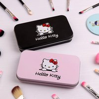 Wholesale Girls Make Up Sets - 7Pcs Hello Kitty Makeup Brush Set with Iron Mini Box Make up Professional Facial Brushes Black Pink Maquiagem Women Girls Gifts
