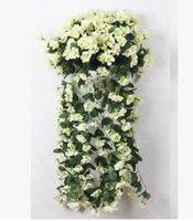 violettes bouquet großhandel-Dekorative Blumen New Violet Künstliche Blumenstrauß Rattan Vine Leave Project Weich montierte Hängende Blumen-Pipeline Dekorative Blume