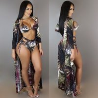Wholesale Long Beach Cover Up Dresses - Factory High Waist Bikini Set +Long Beach Cover Up Dress Summer Leaf Print Sexy Swimming Suits for Women Brazilian Swimwear 3PCS