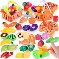 brinquedos de frutas plásticas venda por atacado-24 pçs / lote Crianças Fingem Role Play House Toy Corte De Frutas De Plástico Legumes Cozinha Bebê Clássico Crianças Brinquedos Educativos