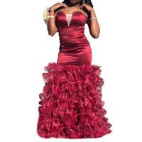 sereia querida vestido de baile querida venda por atacado-Glamorous Querida Borgonha Sereia Vestidos de Baile 2019 Organza Ruffles Longo Vestido de Festa À Noite Vestido Formal Vestidos de Baile Custom Made