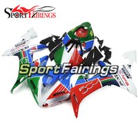 ingrosso corredo per motocicletta yamaha r1 verde-Green Red White Full Fairing per Yamaha YZF1000 R1 Anno 2004 - 2006 04 05 06 ABS Plastic Injection Motorcycle Body Kit Carrozzeria Nuovo Cowling