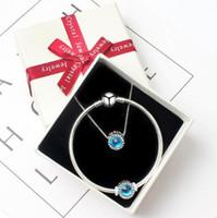 bracelet en diamant couleur achat en gros de-Le nouveau 2018 collier multicolore anti-allergique personnalisé avec un bracelet cadeau serti de bijoux en diamants