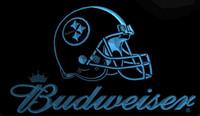 b kaskı toptan satış-LS1986-B-Pittsburgh-Steelers-Kask-Budweisers-Bar-Neon-LED-Işık-Burcu Dekor Ücretsiz Kargo Dropshipping Toptan 8 renk seçmek için