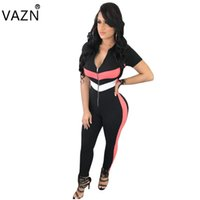 Wholesale night hot costumes resale online - VAZN Hot Fashion Ladies Sexy Bodycon Costume V neck Women Jumpsuits Striped piece Sexy Night Club Rompers B9062