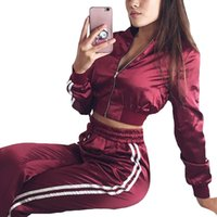 сексуальный костюм из двух частей оптовых-2018 Sexy Two Piece Set Women's Tracksuits Zipper Crop Top and Pants Casual Satin Womens Sporting Suit Outfits Tailleur Femme