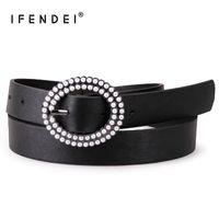 ingrosso disegni perla nera-IFENDEI Cintura da donna per jeans Cintura nera in pelle casual Cinture da donna Perle donna Fibra di lusso cinturino di design per donna Jean