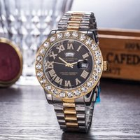 bracelet diamant rouge or achat en gros de-Relogio Gold Luxury Men Automatic Iced Out Watch Mens 2019 Watch Rome President Montre-Bracelet Rouge Affaires Reloj Big Diamond Montres Hommes