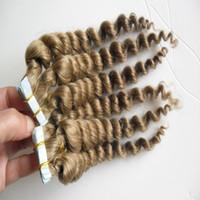 cheveux clairs de peau marron achat en gros de-Extensions de cheveux de bande de 100g 40pcs vague lâche peau brune brun trame de machine de cheveux humains faits Remy 14
