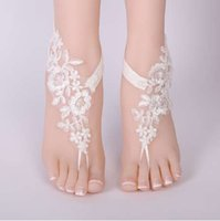 Wholesale sexy romantic wedding shoes resale online - Sexy Wedding Foot Chain White Barefoot Sandals Beach Anklet Jewelry Wedding Shoe Lace pair set