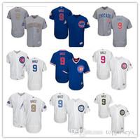 ingrosso pullover di baseball maestoso-donne giovani Uomini personalizzato Majestic Chicago Cubs Jersey # 9 Javier Baez casa Blu Grigio Bianco pullover di baseball