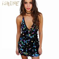 Wholesale short sexy slip dresses - iSHINE Deep V sequin sundress Backless luxury slip dress sexy party short dress women autumn winter vestido Camisole