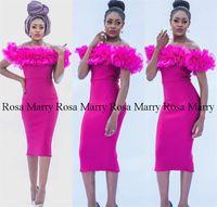 vestido de cocktail fúcsia preto venda por atacado-Sexy Comprimento de Chá Fúcsia Barato Cocktail Party Vestidos 2020 Fora Do Ombro Plus Size Ruffle Meninas Negras Árabe Africano Formal Evening Prom Vestidos