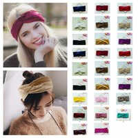 Wholesale velvet elastic headbands - 26styles Women Twist Knot Wrap Headband Velvet Soft Elastic Turban Head Casual lady Princess hair accessories dot headware FFA536 60PCS