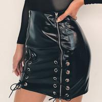 ropa punk sexy al por mayor-Faldas de cuero de la PU de las mujeres cremalleras negras del diseño del vendaje del punk Club falda de la ropa Hip Up faldas atractivas