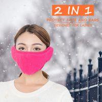 rüzgar koruması maskeleri toptan satış-Kış Sıcak Kulak Koruma Maskesi Açık Rüzgar Ve Toz Koruma Maskesi Kapak Lady Maske Gül Kırmızı