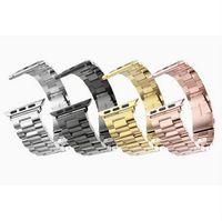 altın iwatch toptan satış-Apple watch 38mm 42mm Altın için lüks klasik paslanmaz çelik bant iwatch Askı Serisi 1 2 Bilezik kemer