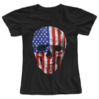 personajes de dibujos animados americanos al por mayor-Camiseta de las mujeres Cráneo Bandera americana Patriótico Camiseta de las mujeres 2017 Verano de la moda femenina Camiseta Personaje de dibujos animados Hipster Impreso femenino