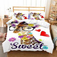 Wholesale deer bedding queen - New 3D Animals Design Bedding Set 2PC 3PC Deer Cat Duvet Cover Set Of Quilt Cover & Pillowcase Twin Full Queen King Size