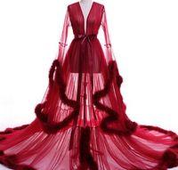 ingrosso vestito da promenade rosa bordeaux-Vestido de festa Abito da sera Robe De Soiree Scollo a V Piume lungo Tulle Abiti da sera partito 2017 Borgogna rosa abiti da ballo