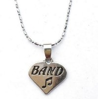 Wholesale teachers gifts resale online - 10pc Heart Shaped Music Note Band Necklace Musician Gifts Band Teacher Appreciation Jewelry good quality hot sale drop shipping newest