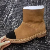 Wholesale thick heel snow boot online - boots NEW style black genuine leather platform thick heel short boots luxury designer runway fashion brand Warm ladies boots