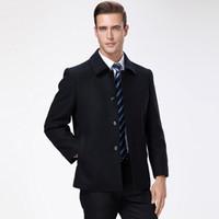 зимняя шерстяная одежда оптовых-2018 Winter New Fashion  Coat Mens Wool Slim Fit Peacoat Warm Jacket Wool Blends Overcoat Fitted Black Casual Mens Clothing
