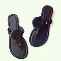 Wholesale Open Back Thong - New Genuine Leather Fashion Women Sandals Brand Famous Thong Flip Flops Women Summer shoes Beach sandals 3 kind leather